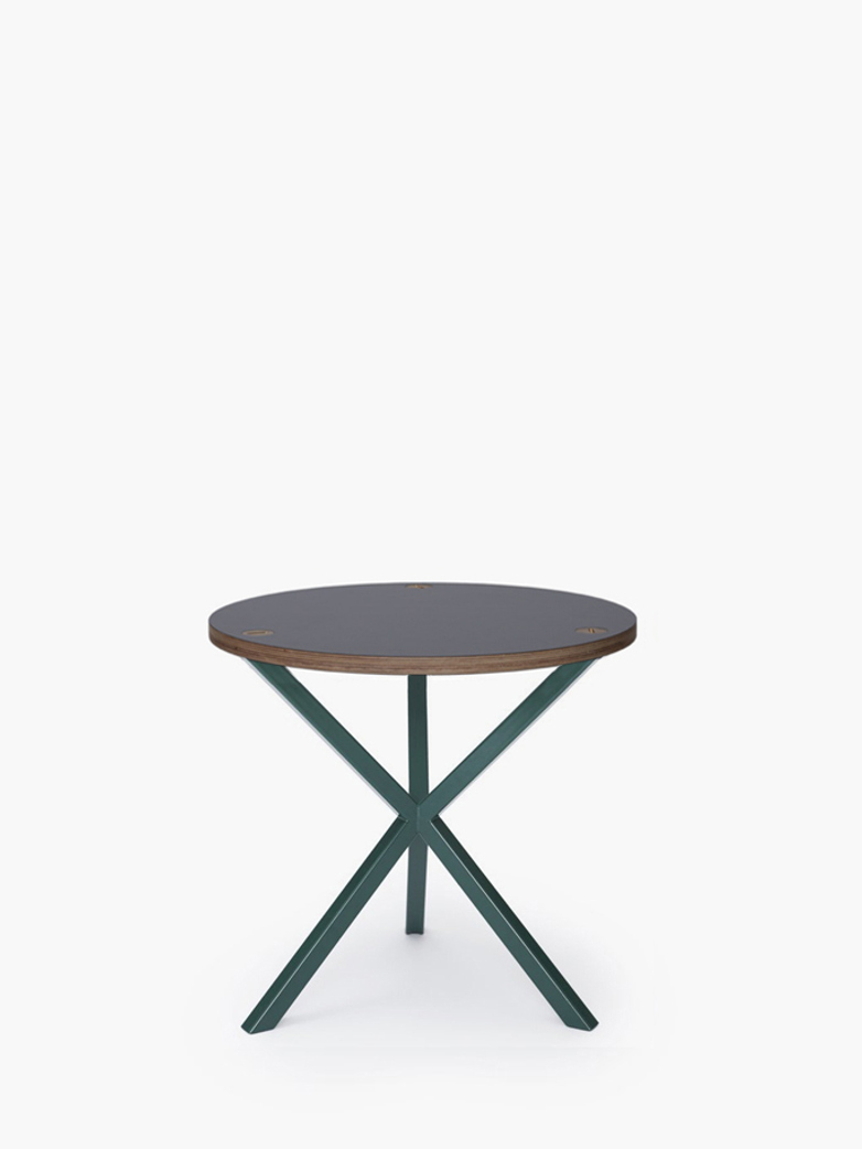 NEB Round Side Table – Grey Laminate/Green