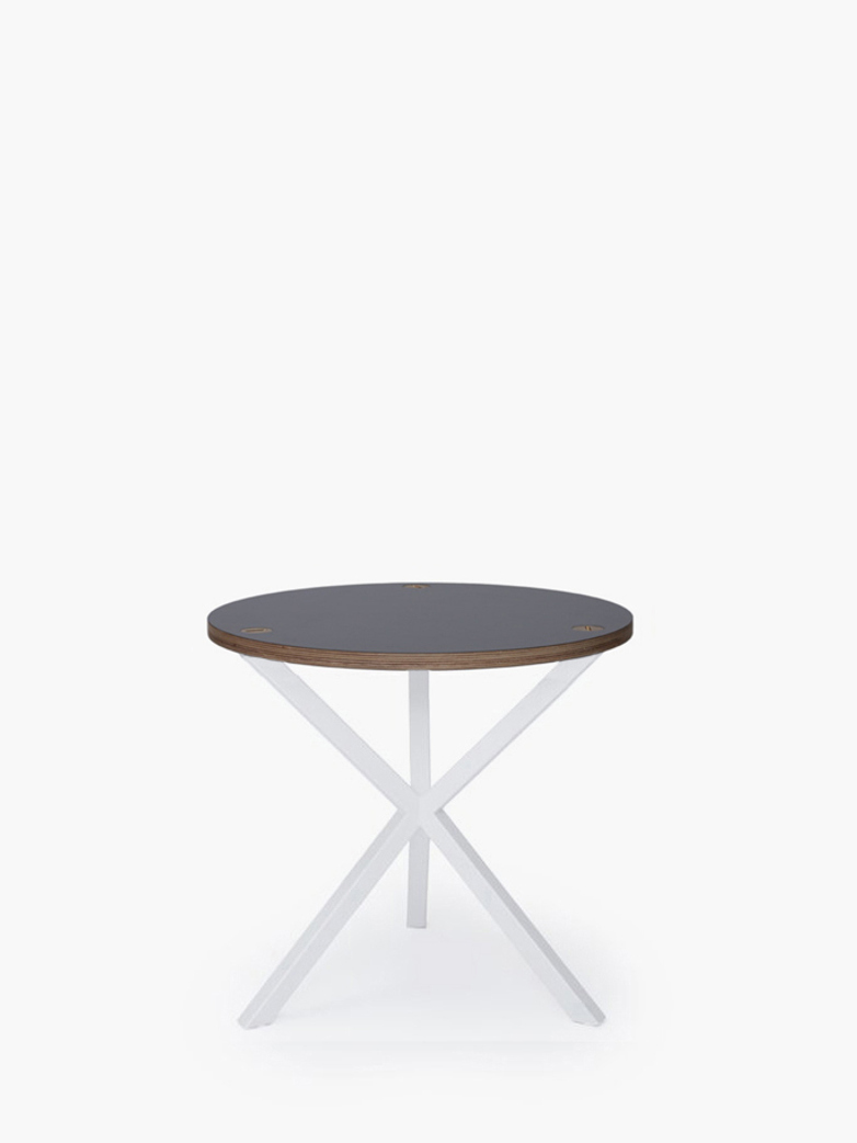 NEB Round Side Table – Grey Laminate/White