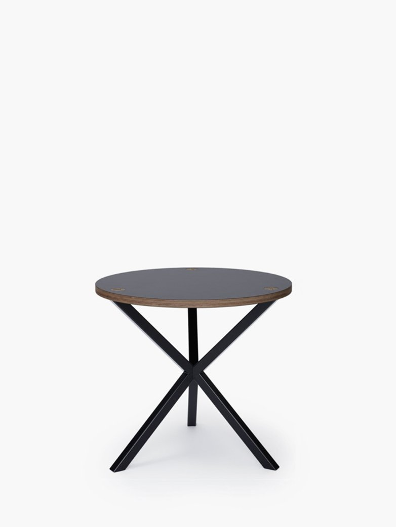 NEB Round Side Table – Grey Laminate/Black