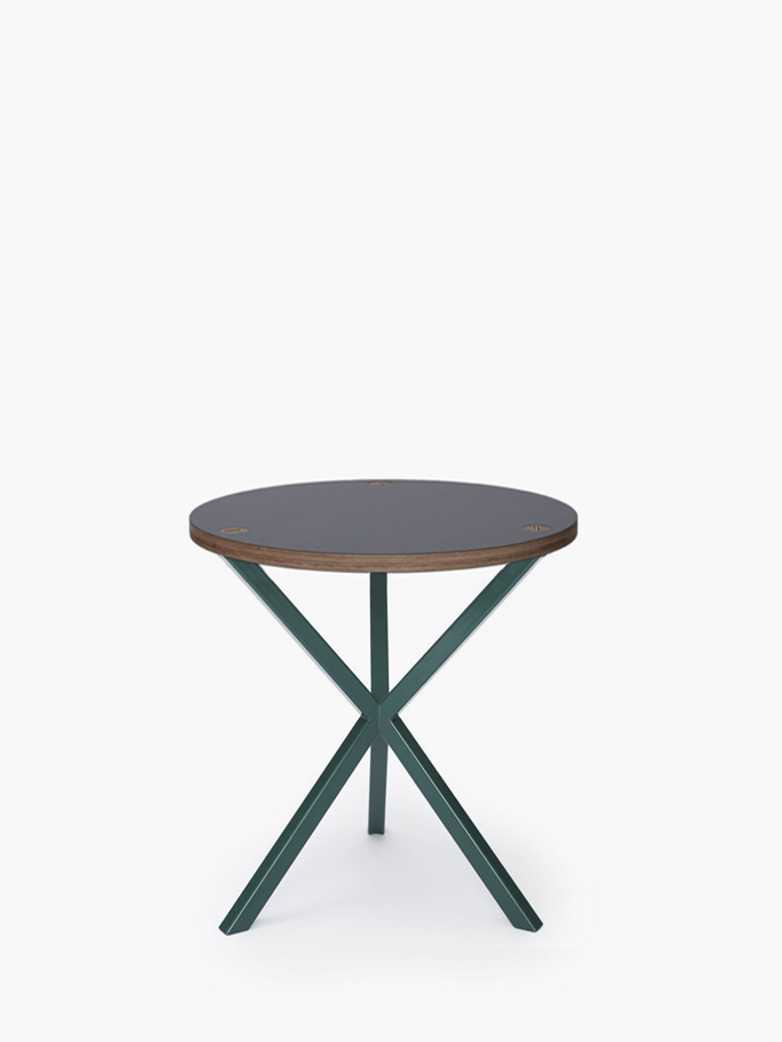 NEB Round Side Table – Grey Laminate/Green – Medium