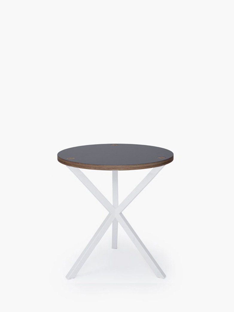 Neb Round Side Table Grey Laminate White Medium