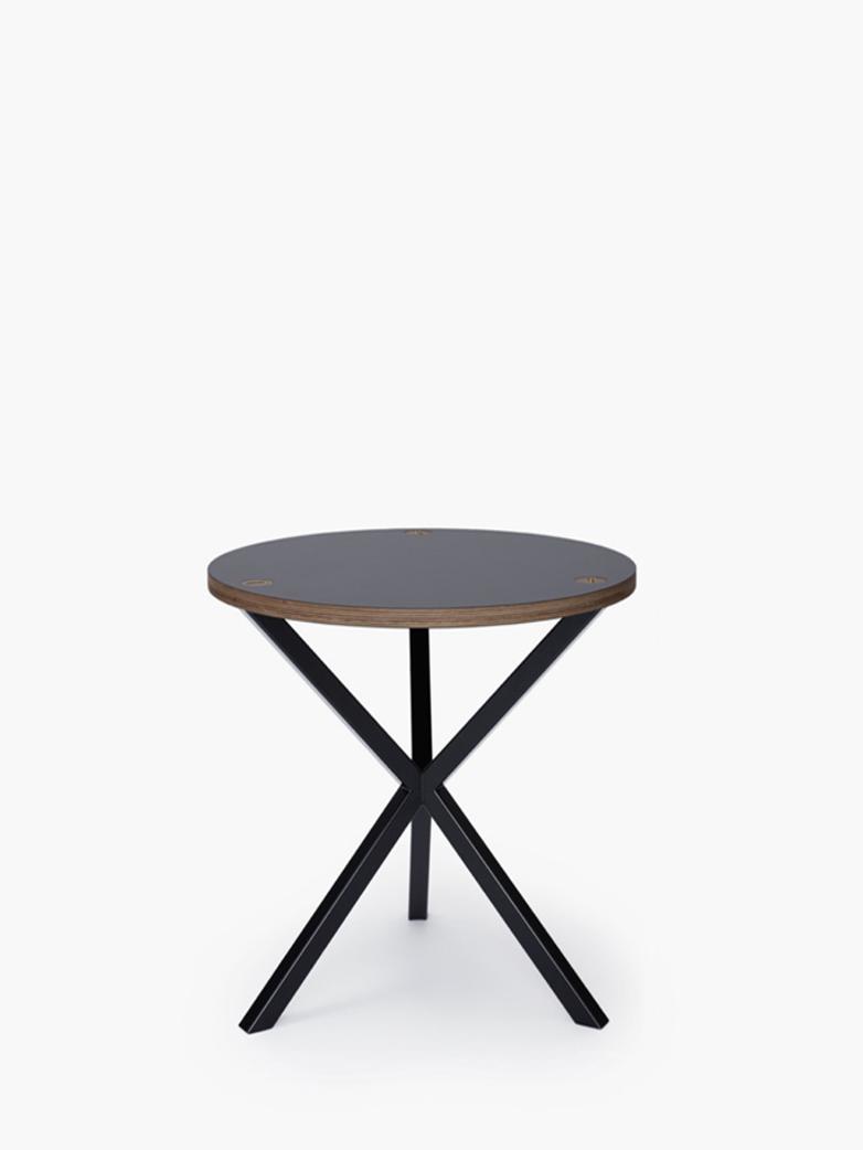 NEB Round Side Table – Grey Laminate/Black – Medium