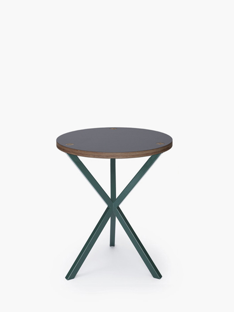 NEB Round Side Table – Grey Laminate/Green – High