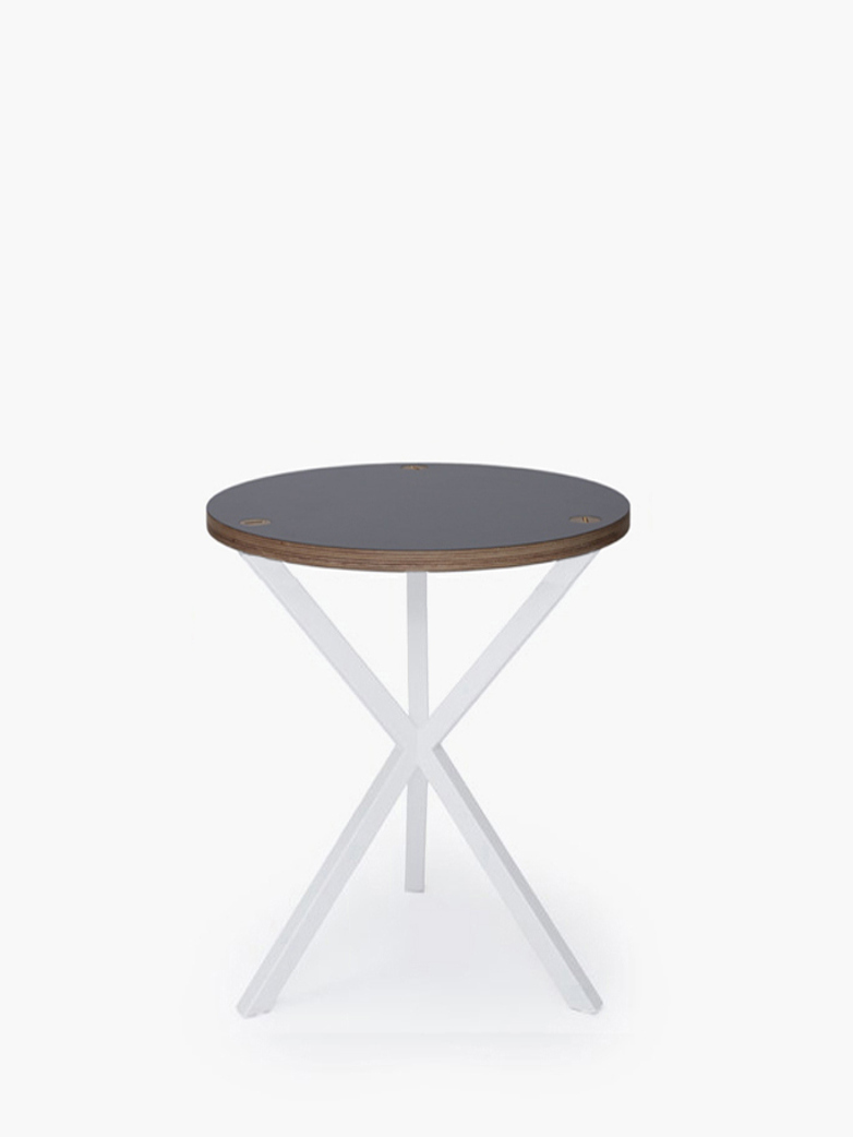 Neb Round Side Table Grey Laminate White High