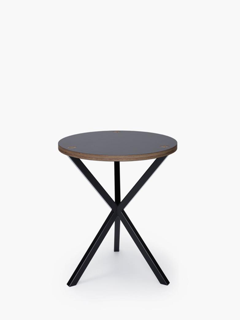 NEB Round Side Table – Grey Laminate/Black – High