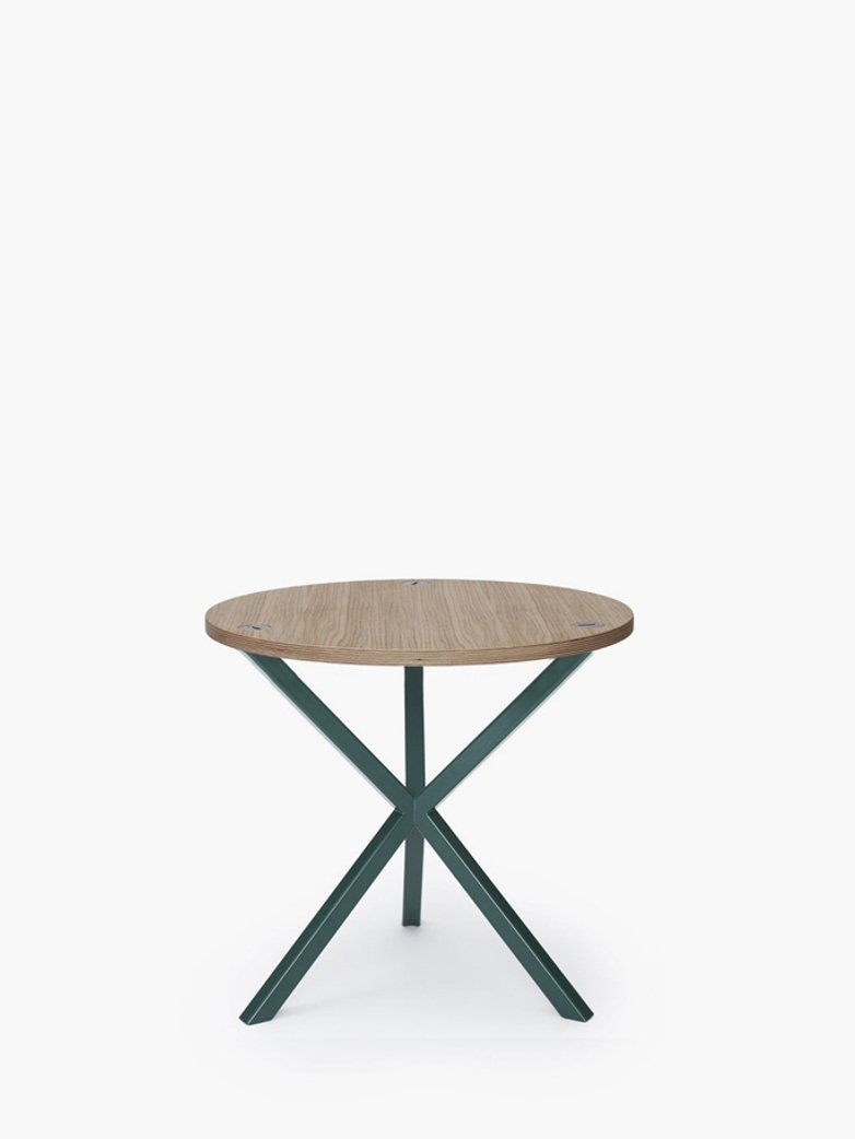 NEB Round Side Table – Clear Oak/Green