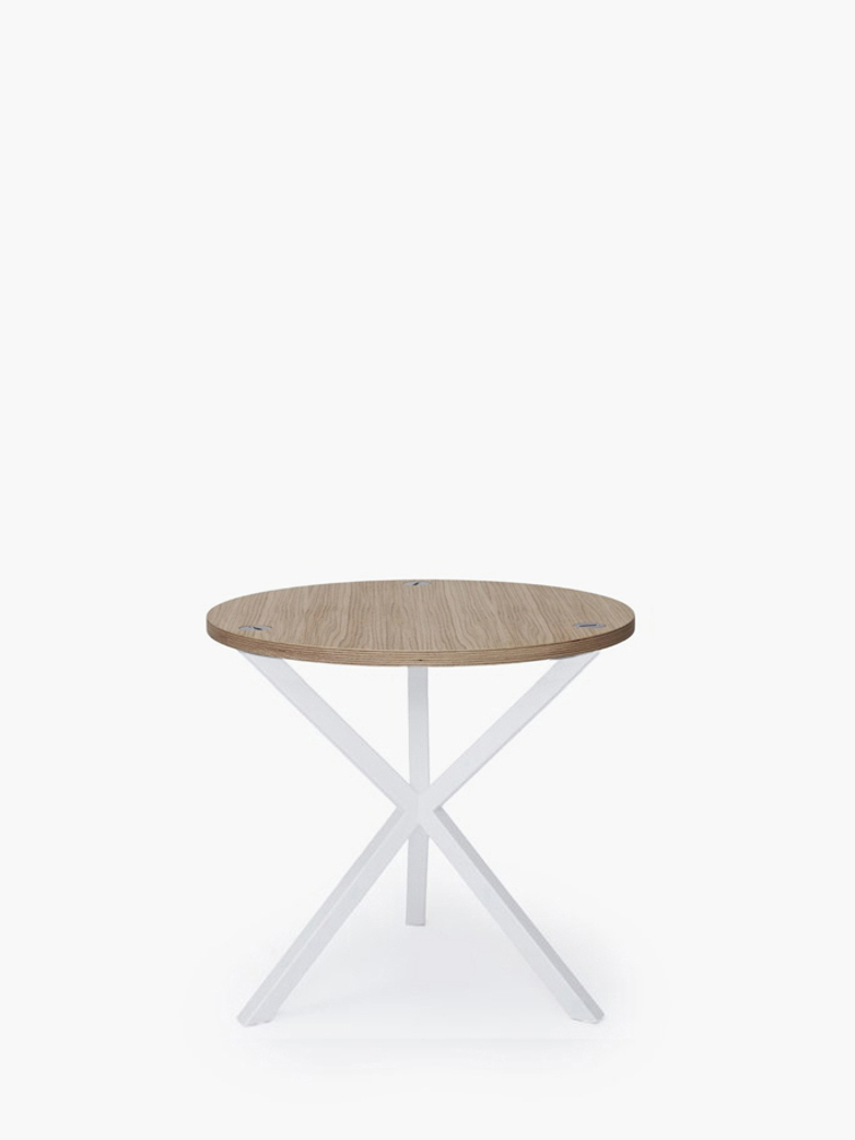 NEB Round Side Table – Clear Oak/White