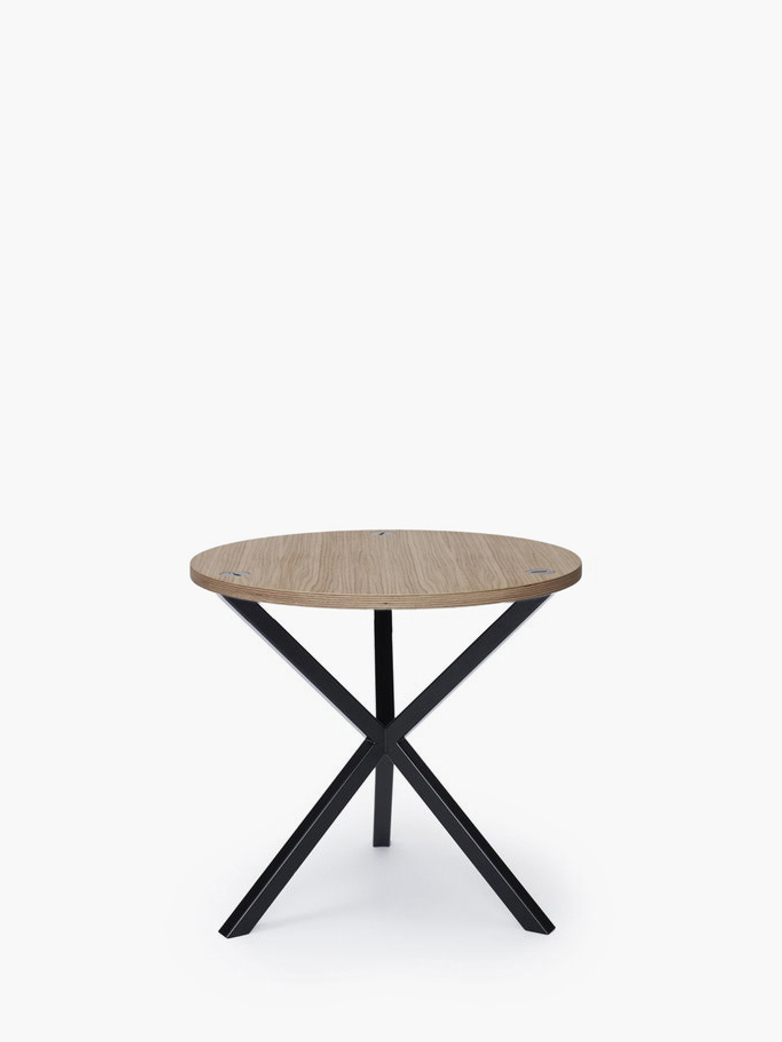 NEB Round Side Table – Clear Oak/Black