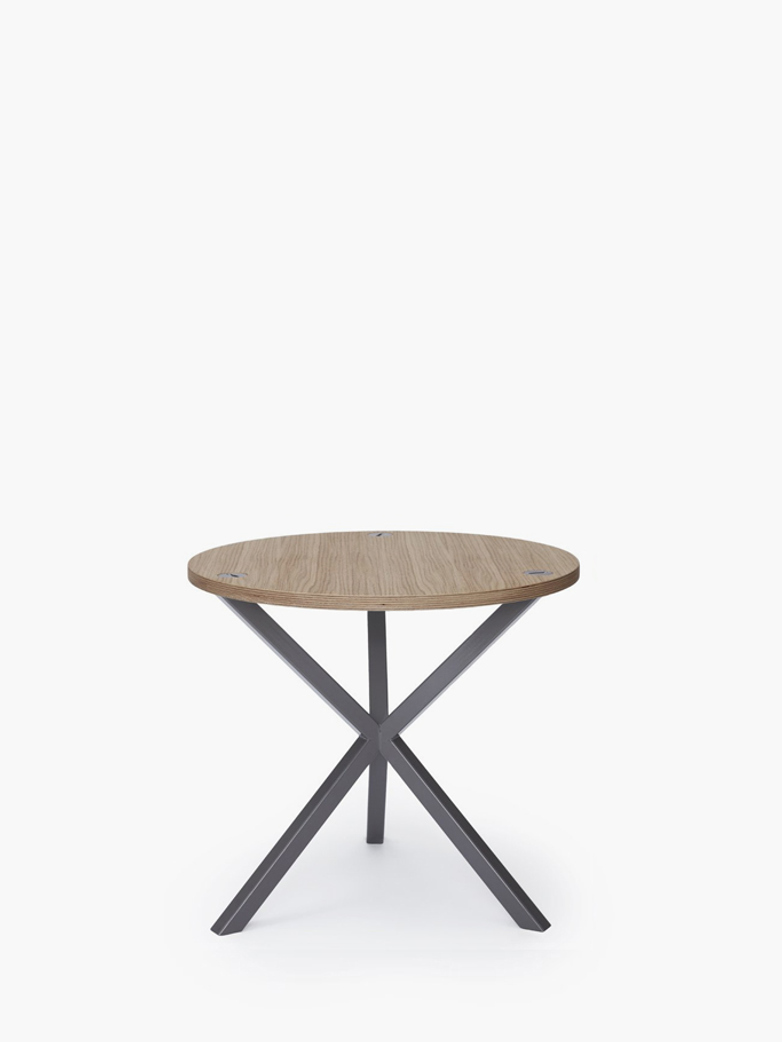 NEB Round Side Table – Clear Oak/Grey