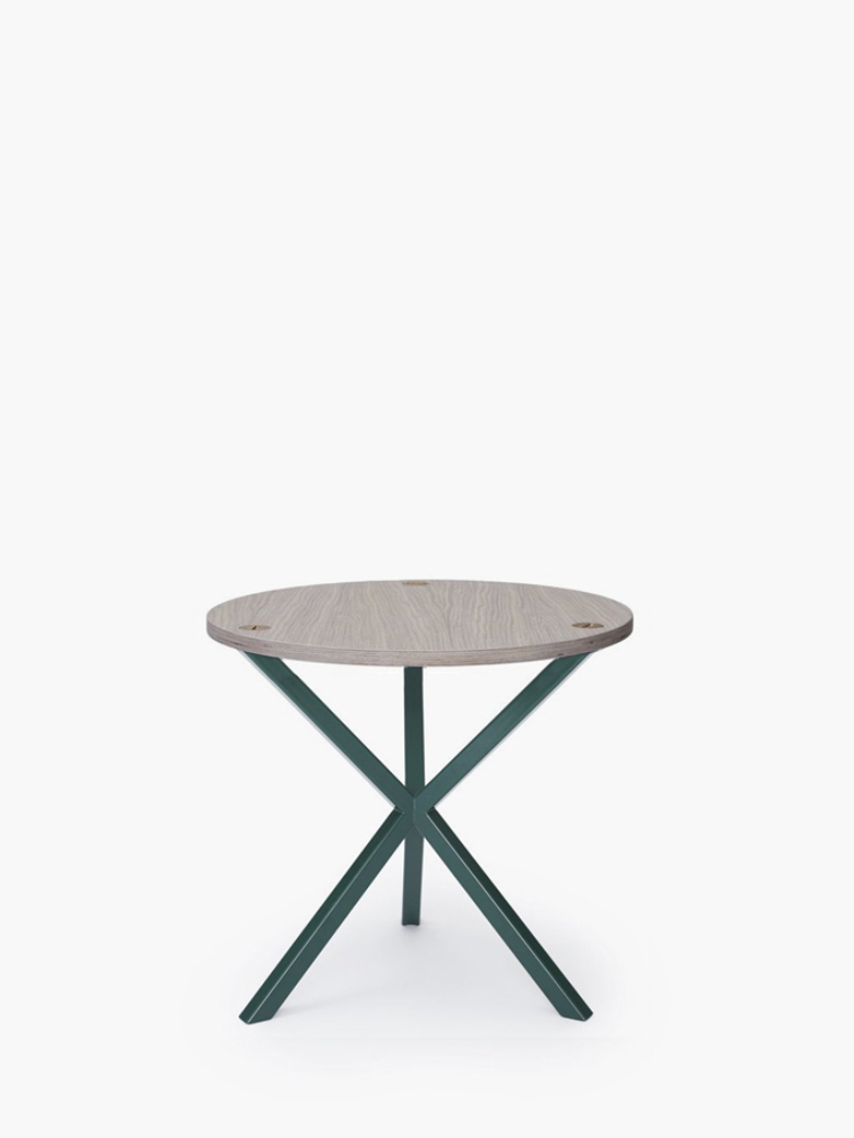 NEB Round Side Table – White Oak/Green