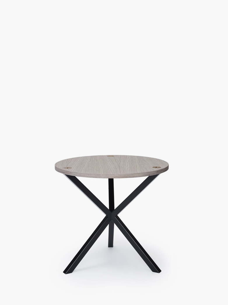 NEB Round Side Table – White Oak/Black