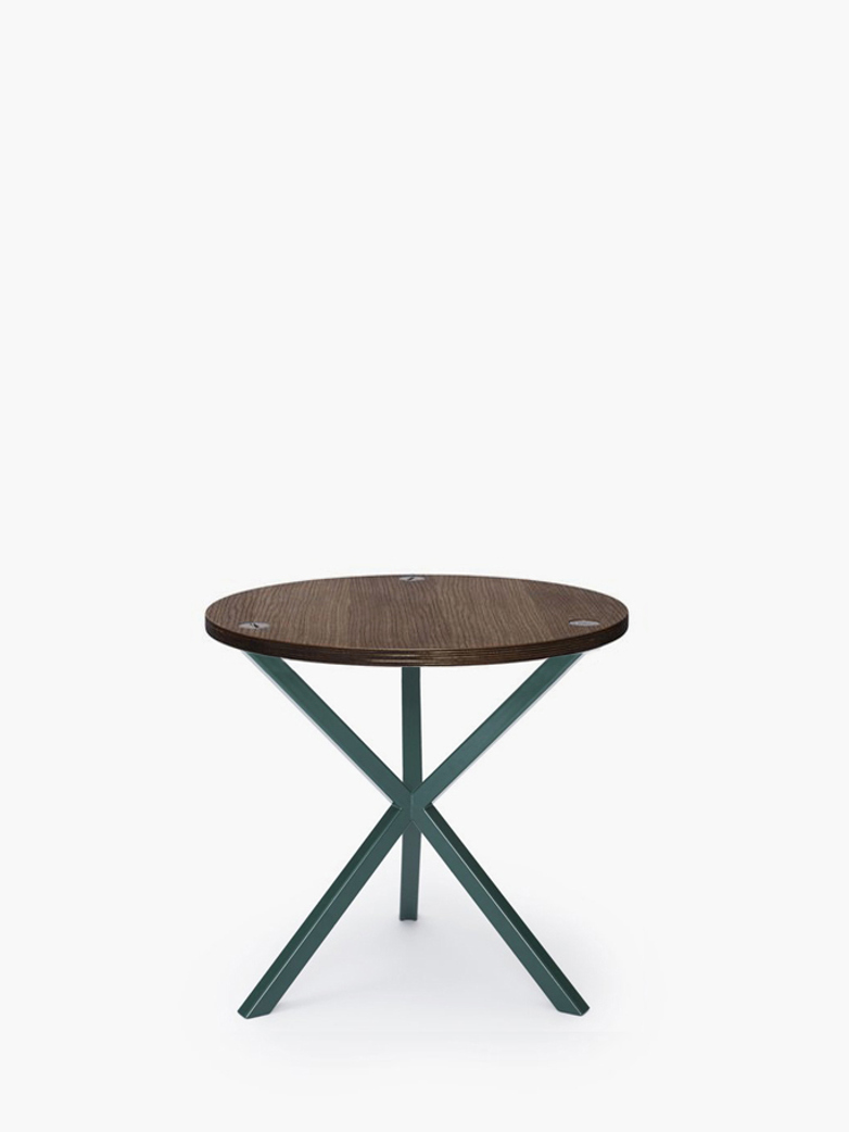 NEB Round Side Table – Walnut Colored Oak/Green