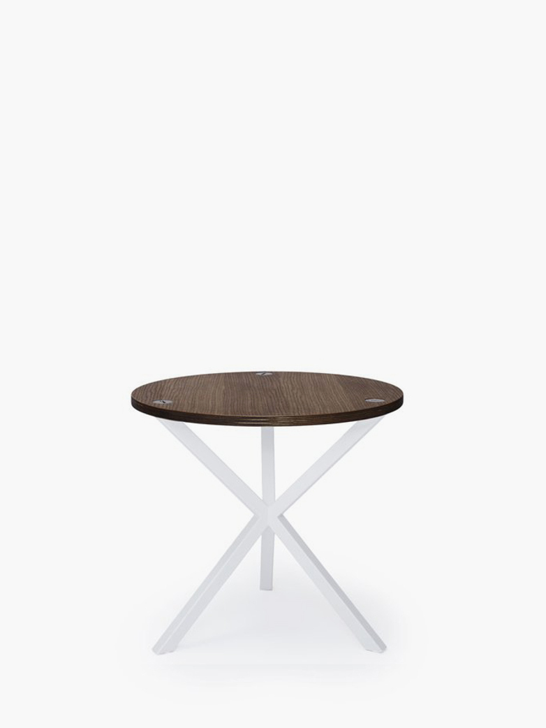 NEB Round Side Table – Walnut Colored Oak/White