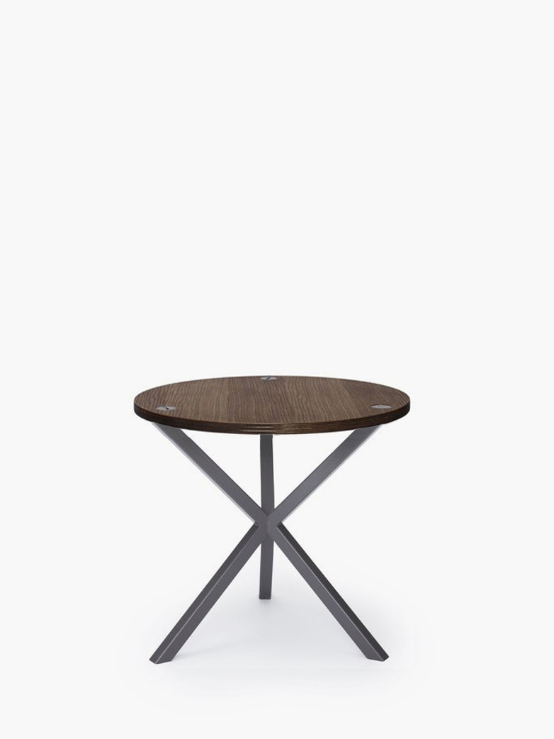 NEB Round Side Table – Walnut Colored Oak/Grey