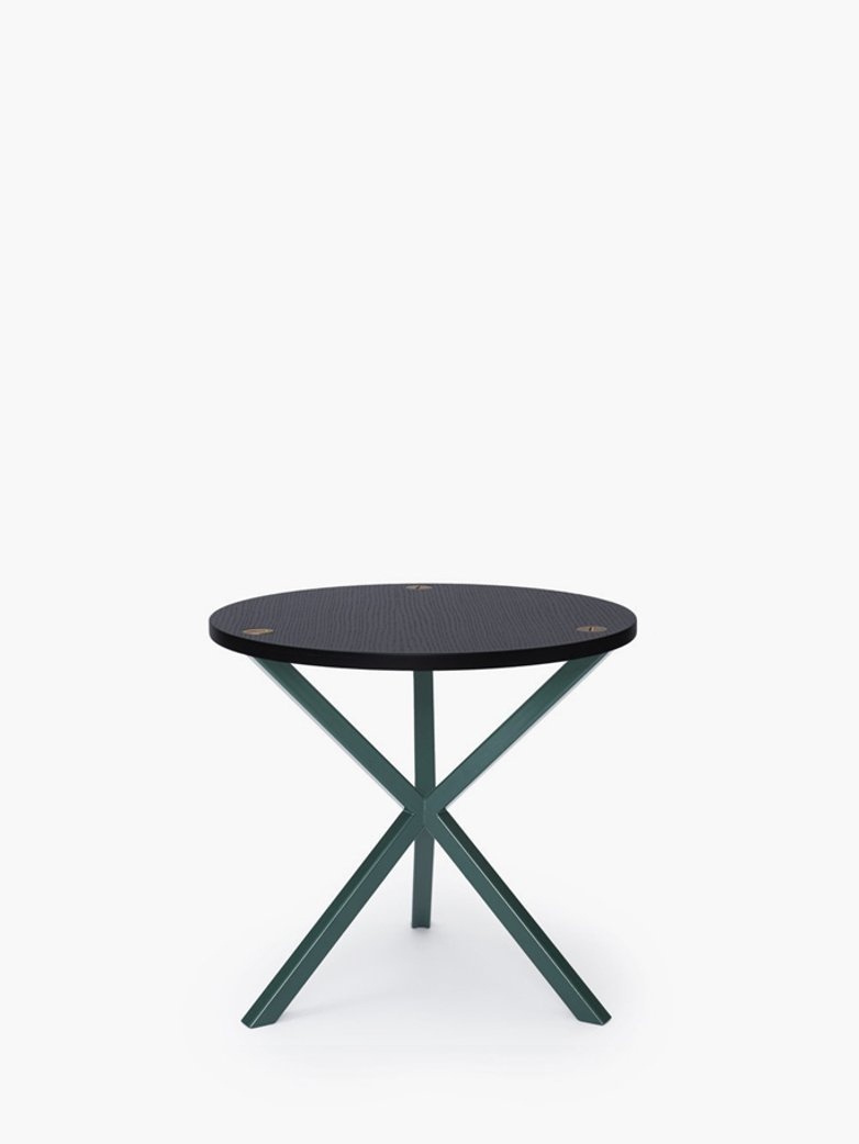 NEB Round Side Table – Black Oak/Green