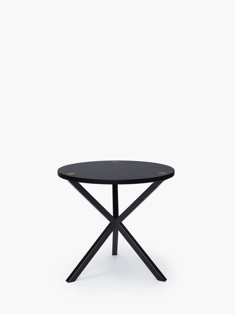 NEB Round Side Table – Black Oak/Black