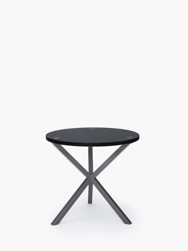 NEB Round Side Table – Black Oak/Grey