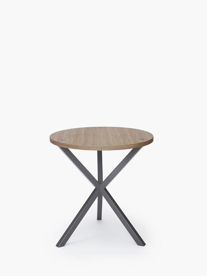 NEB Round Side Table – Clear Oak/Grey – Medium