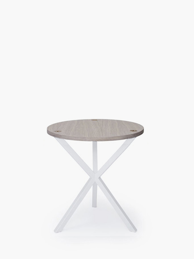 NEB Round Side Table – White Oak/White – Medium