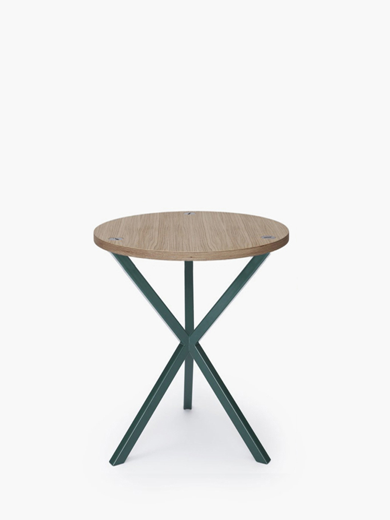 NEB Round Side Table – Clear Oak/Green – High