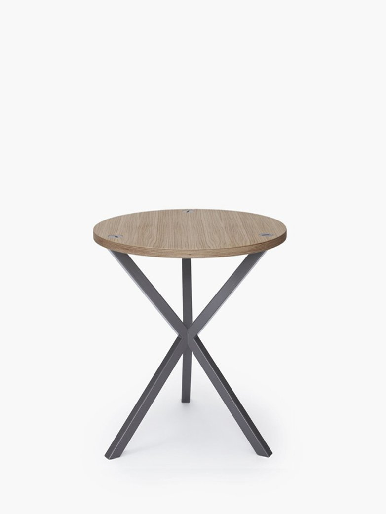 NEB Round Side Table – Clear Oak/Grey – High