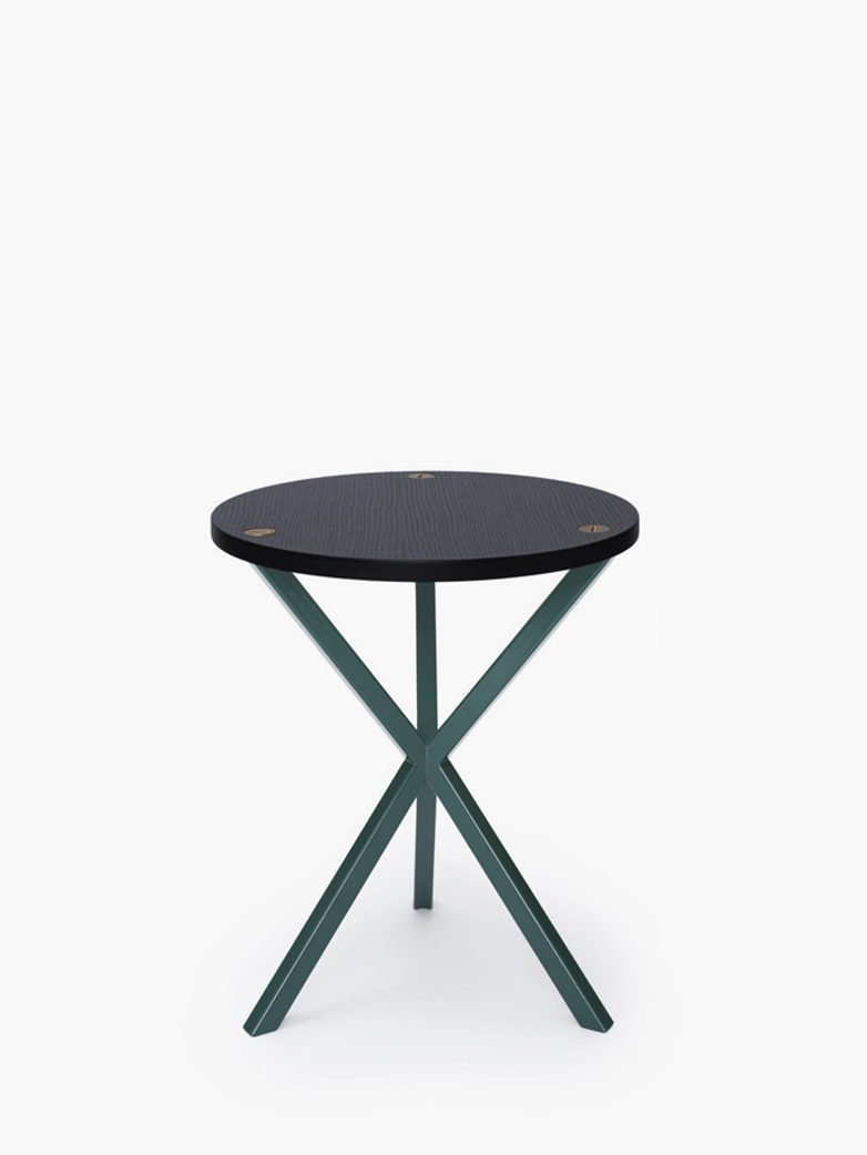 NEB Round Side Table – Black Oak/Green – High