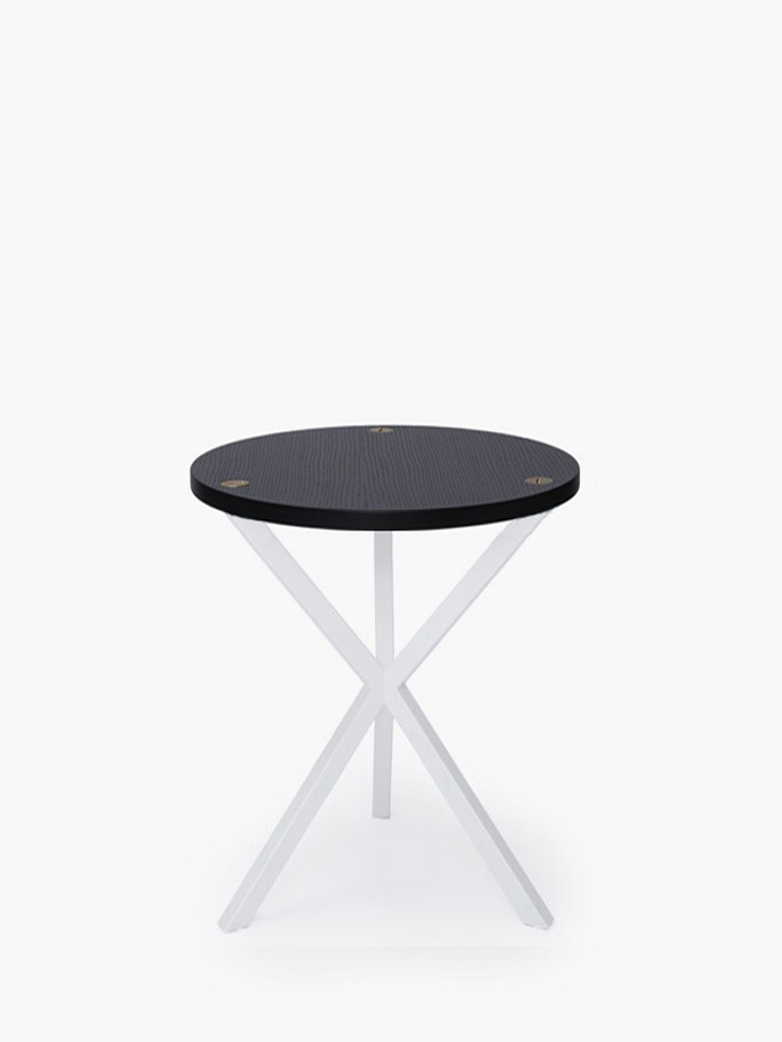 NEB Round Side Table – Black Oak/White – High