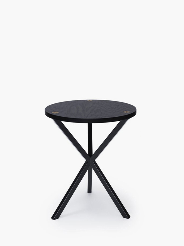 NEB Round Side Table – Black Oak/Black – High
