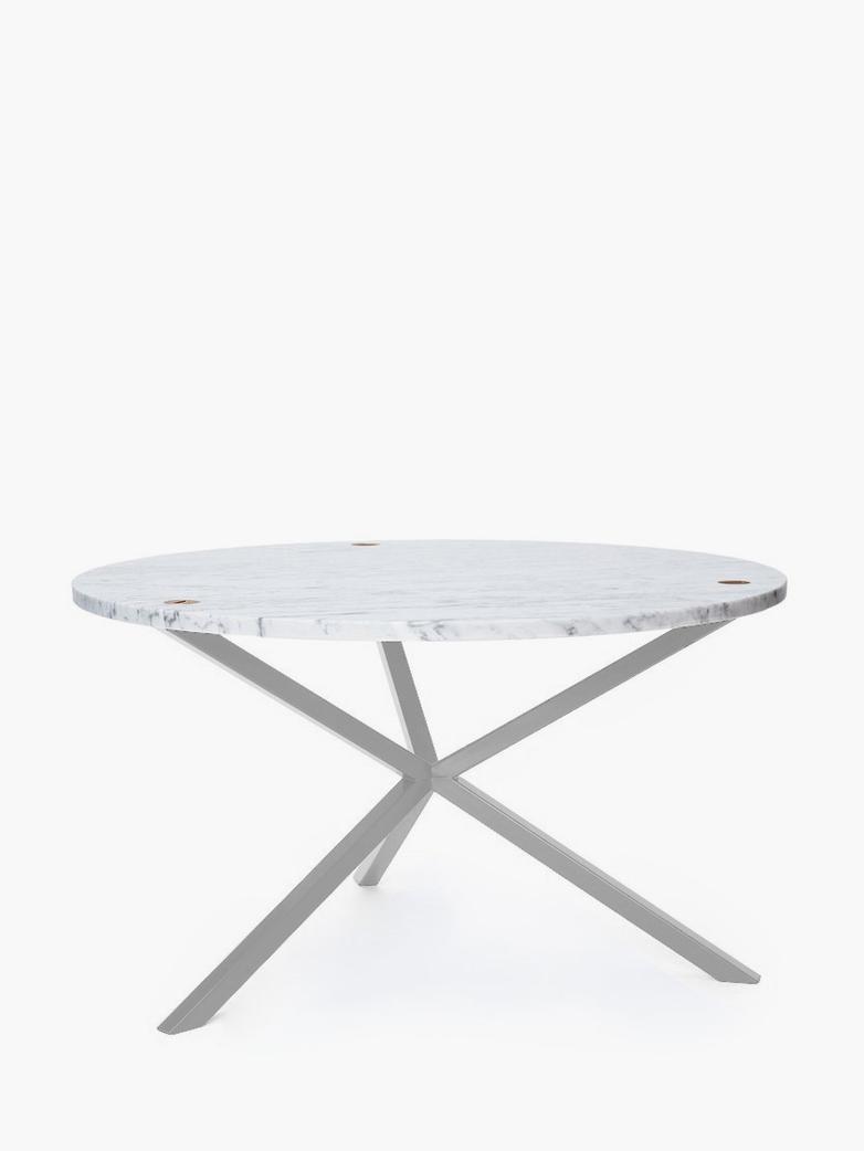 NEB Round Coffee Table – Marble/White – Ø80 – High