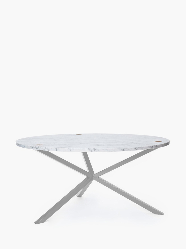 NEB Round Coffee Table – Marble/White – Ø100 – Low