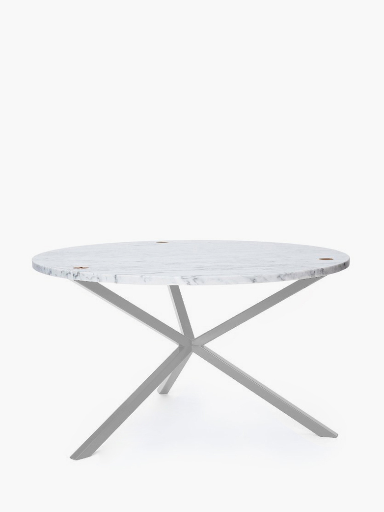 NEB Round Coffee Table – Marble/White – Ø100 – High