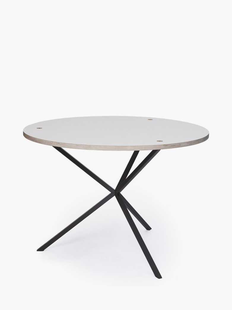 NEB Round Dining Table – White Laminate/Black – Ø80