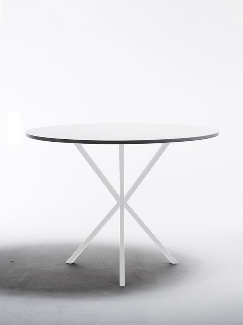NEB Round Dining Table – White Laminate/White