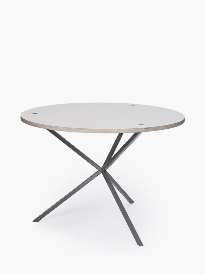 NEB Round Dining Table – White Laminate/Grey