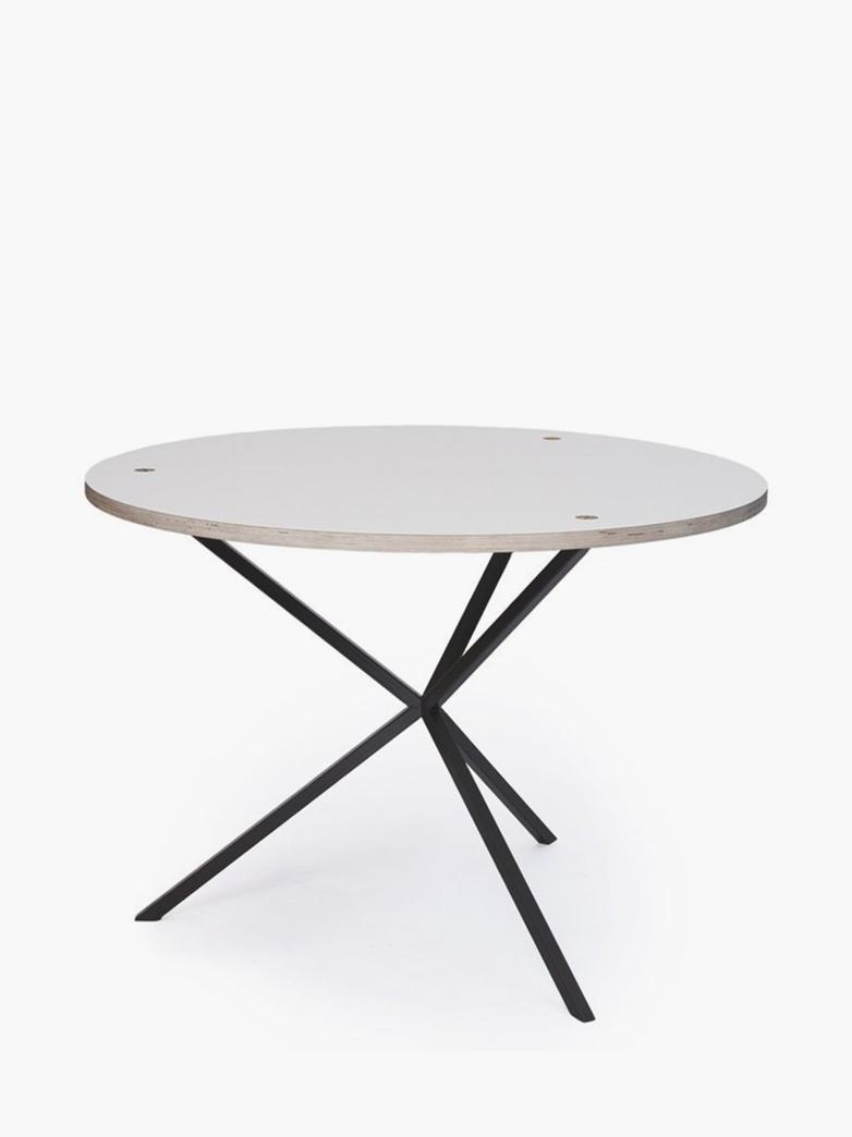 NEB Round Dining Table – White Laminate/Black – Ø100