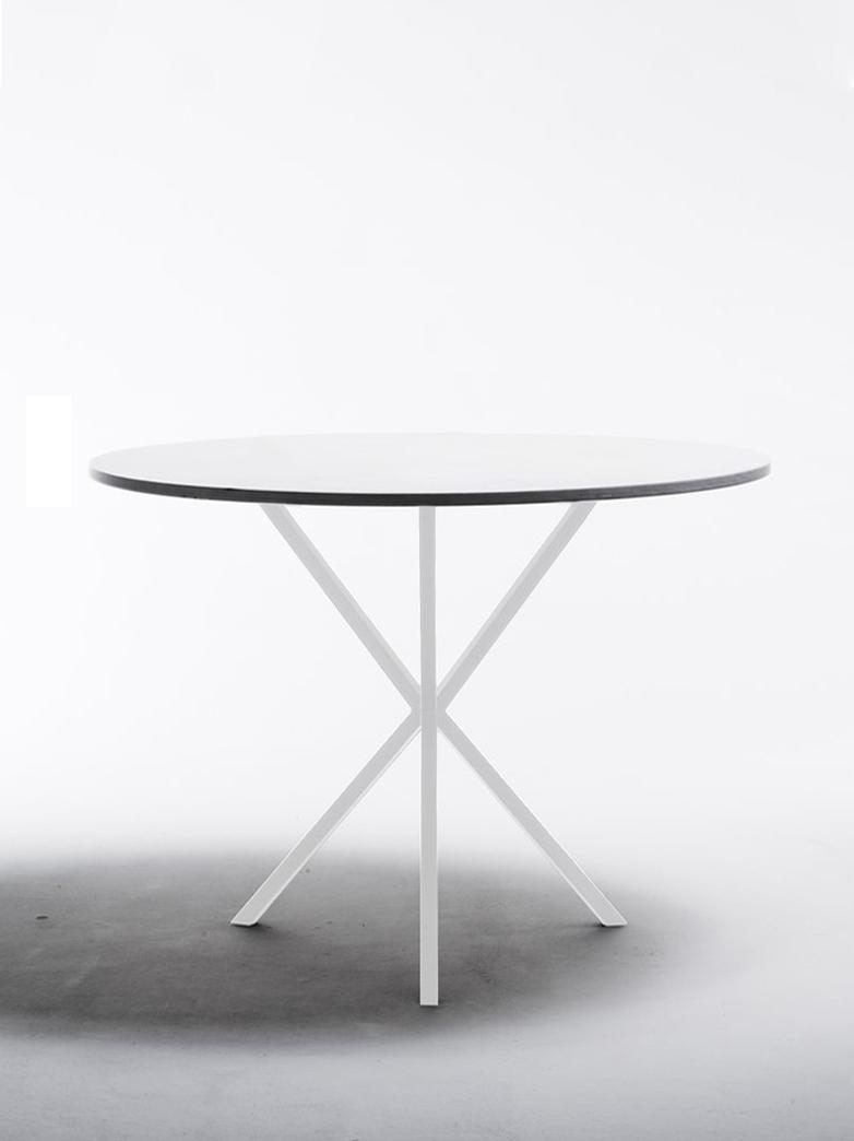 NEB Round Dining Table – White Laminate/White