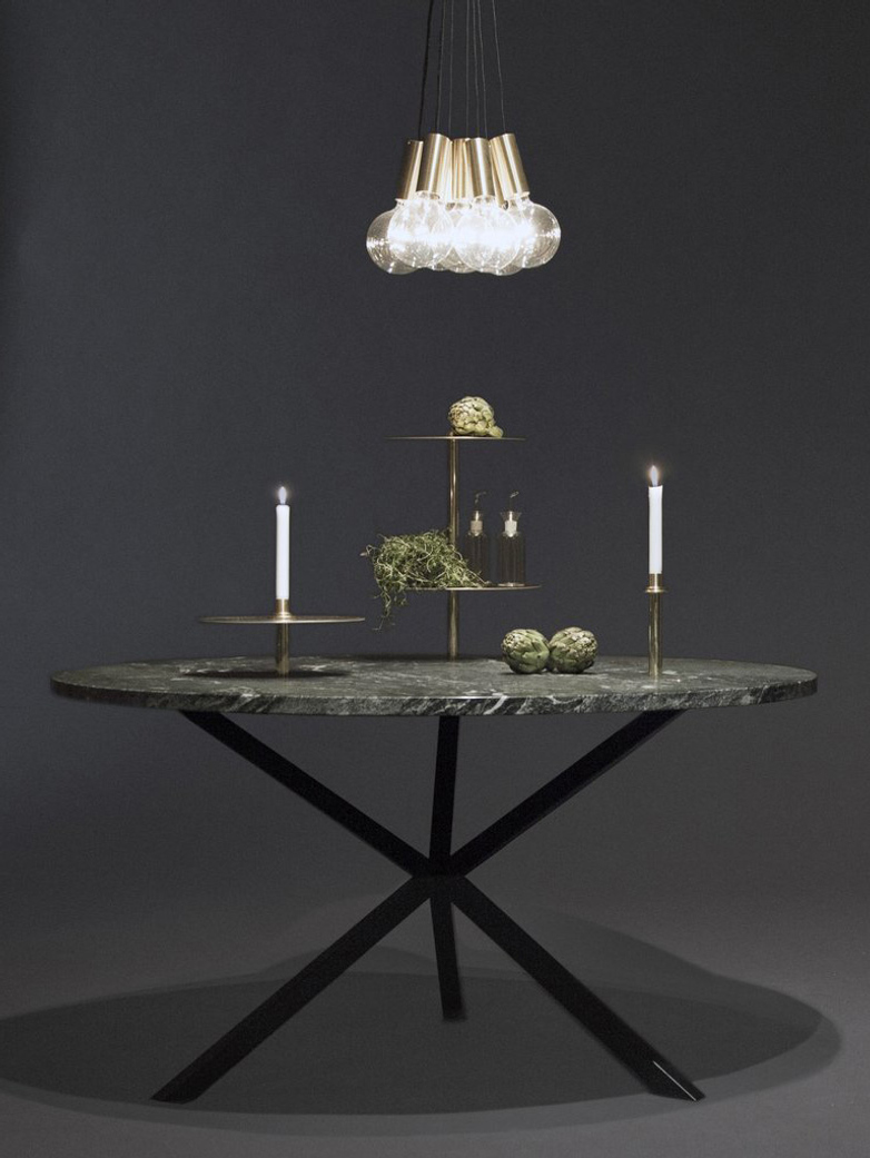 NEB Round Dining Table – Granite/Black