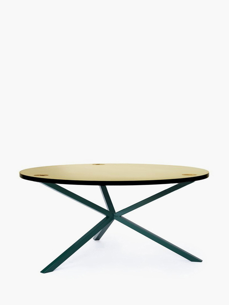 NEB Round Coffee Table – Brass/Green