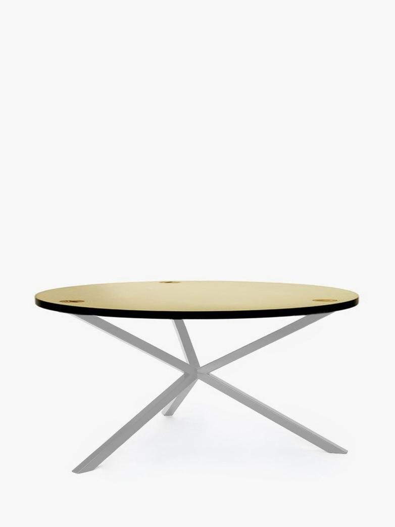NEB Round Coffee Table – Brass/White