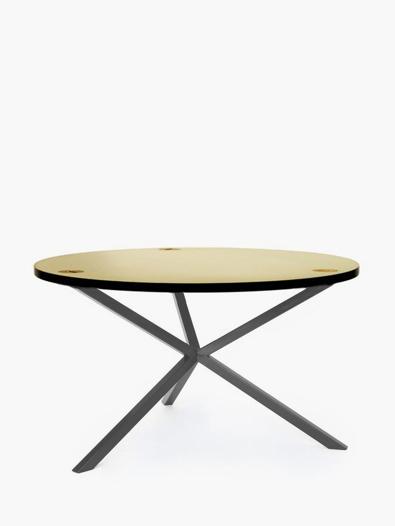 NEB Round Coffee Table – Brass/Grey – Ø80 – High