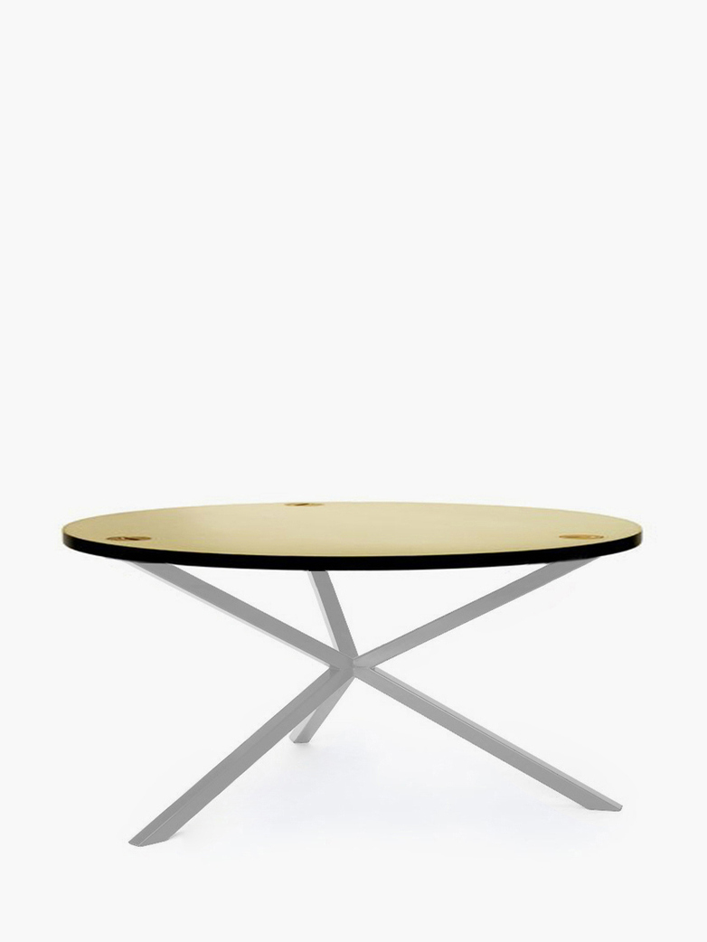 NEB Round Coffee Table – Brass/White – Ø100 – Low