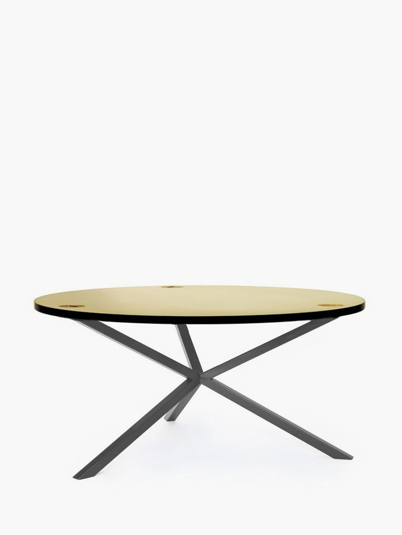 NEB Round Coffee Table – Brass/Grey – Ø100 – Low