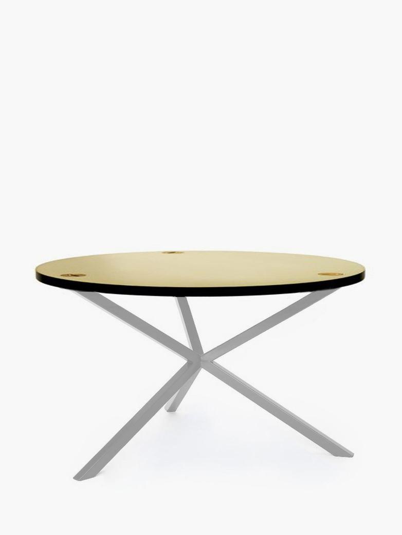 NEB Round Coffee Table – Brass/White – Ø100 – High