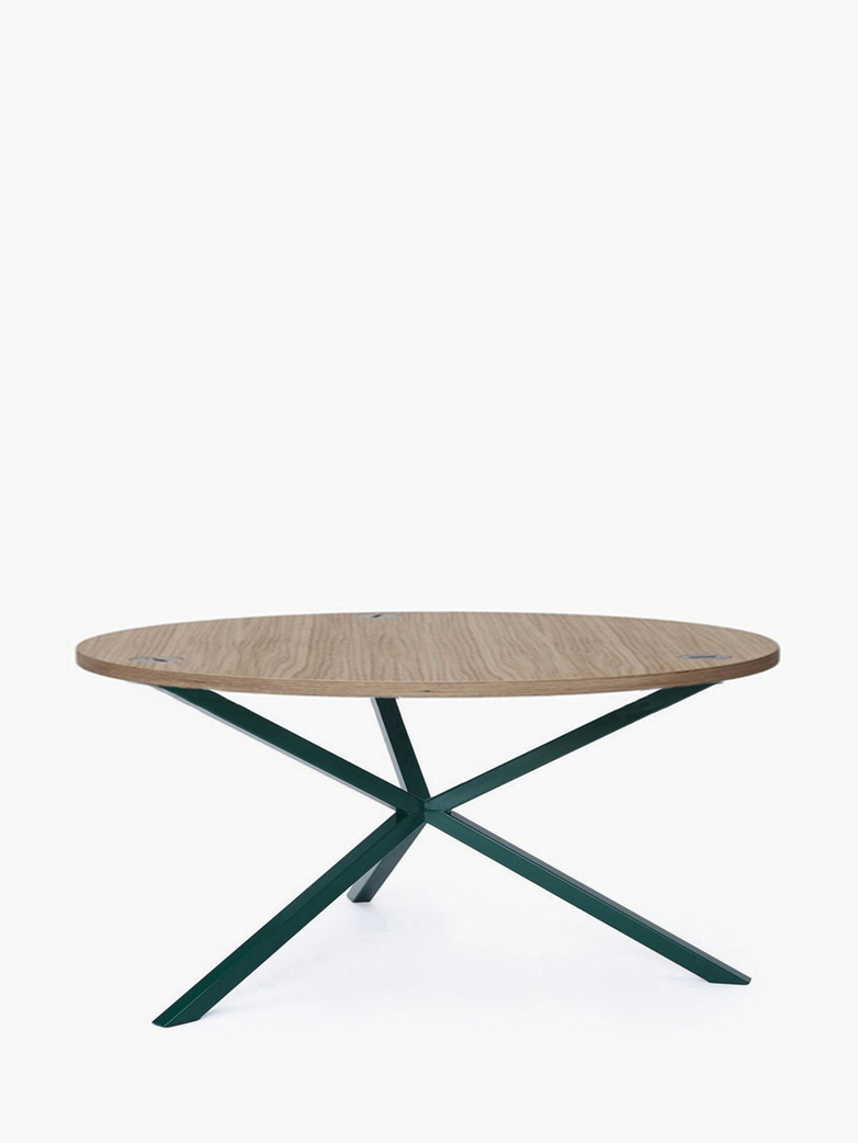 NEB Round Coffee Table – Clear Oak/Green