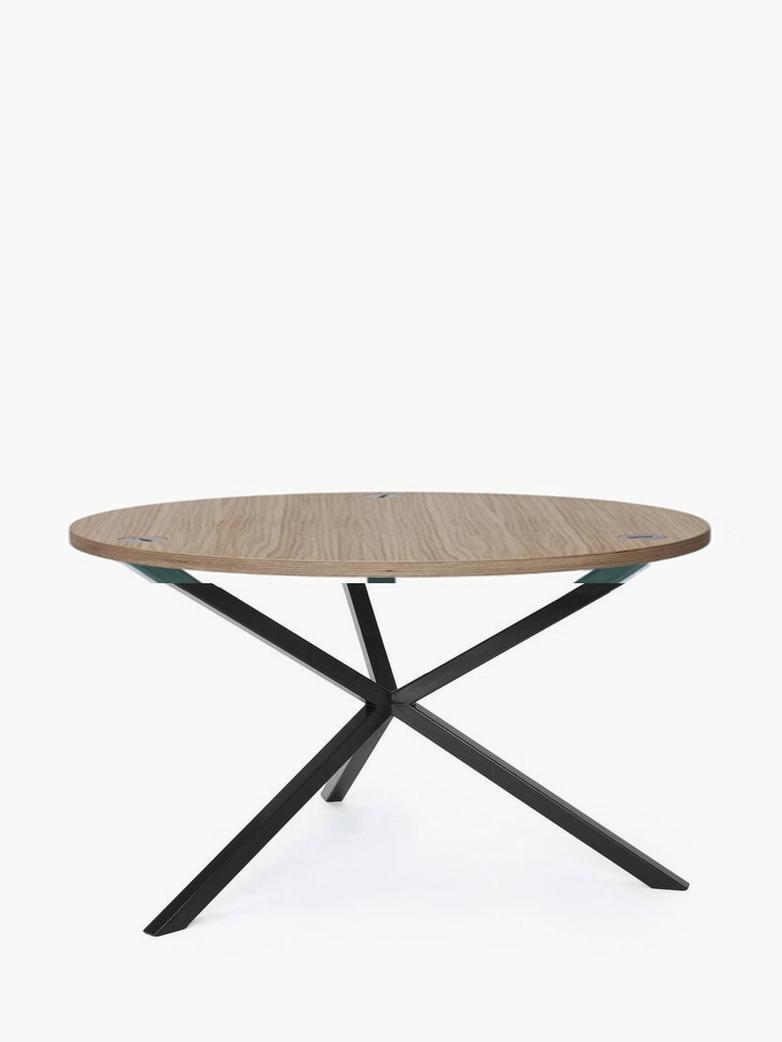 NEB Round Coffee Table – Clear Oak/Black – Ø80 – High