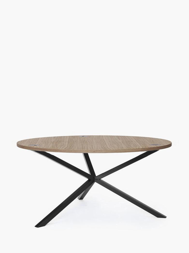 NEB Round Coffee Table – Clear Oak/Black – Ø100 – Low