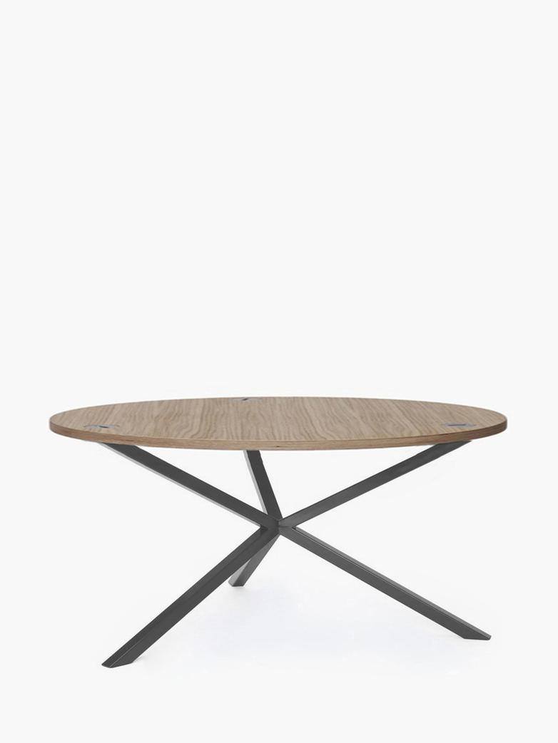 NEB Round Coffee Table – Clear Oak/Grey – Ø100 – Low
