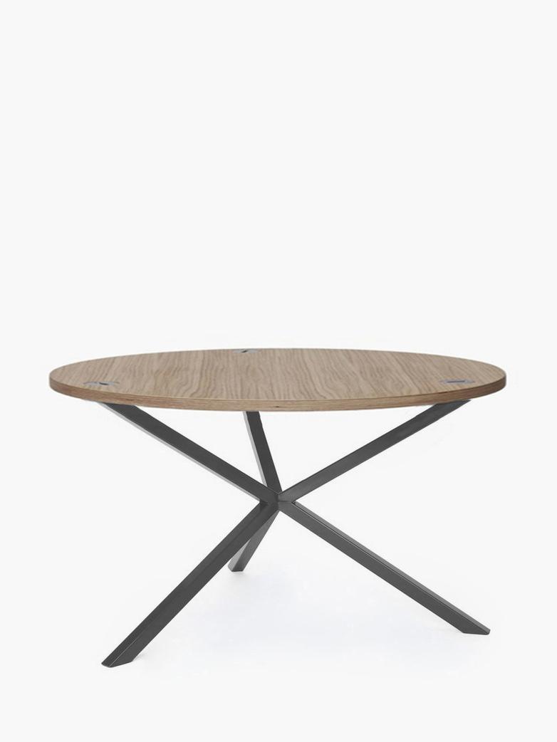 NEB Round Coffee Table – Clear Oak/Grey – Ø100 – High