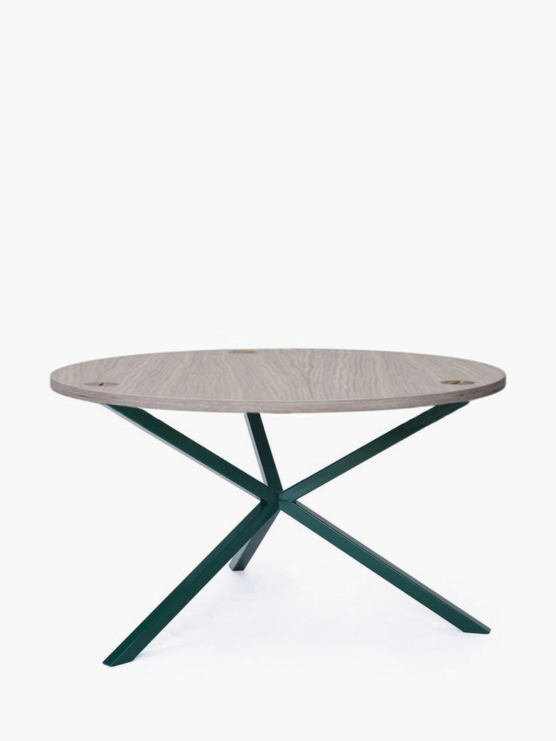 NEB Round Coffee Table – Clear Oak/Green – Ø80 – High