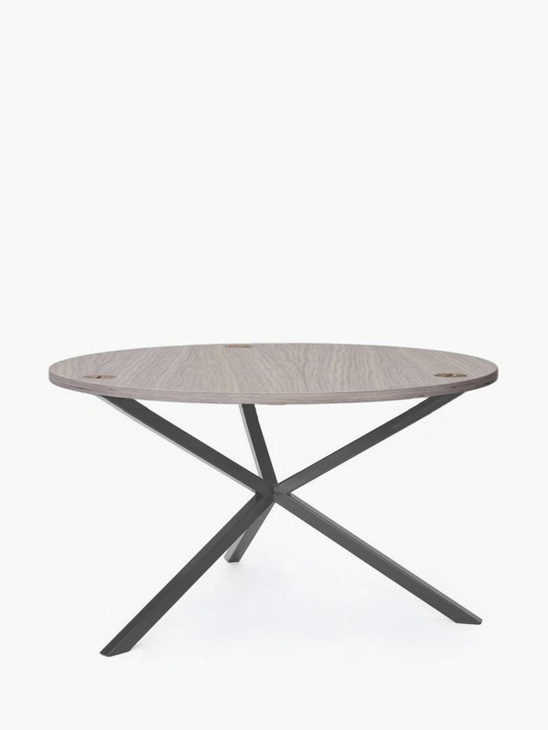 NEB Round Coffee Table – Clear Oak/Grey – Ø80 – High